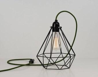 Vintage Industrial Black Diamond Pendant Wire Cage Desk Side Lamp Light & Edison Filament Bulb | Choose cable colour