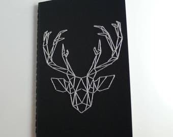 Moleskine notebook embroidered deer head