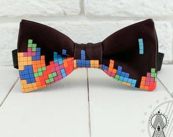 Tetris Bow Tie, Geeks bowtie, Old Games, Geek, Geeks wedding, 8 bit, Game themed