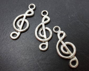 Treble clef, silver plated metal connectors, connectors music note music, 19 x 8 mm