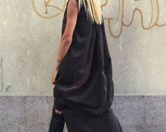 New Extravagant Long Tunic Dress, Casual Brown Cashmere Dress, Sleeveless Zipped Loose Dress by SSDfashion