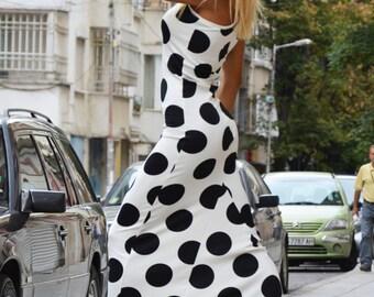 Asymmetrical Polka Dots Long Dress, Elegant Evening Maxi Dress, Oversize Day Dress, Casual Cocktail Dress by SSDfashion