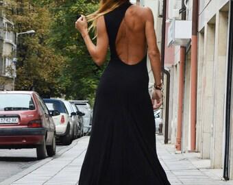 One Shoulder Black Asymmetric Dress, Open Back Elegant Dress, Extravagant Long Backless Dress, Plus Size by SSDfashion
