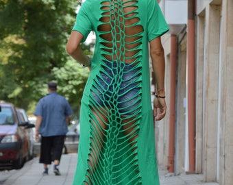 Plus Size Green Dress, Extravagant Casual Tunic Dress, Maxi Long Short Dress, Summer Open Back Dress by SSDfashion