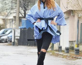 Blue Shepherd's Plaid Shirt, Woman Drape Loose Shirt, Asymmetric Buttoned Soft Cotton Shirt by SSDfashion