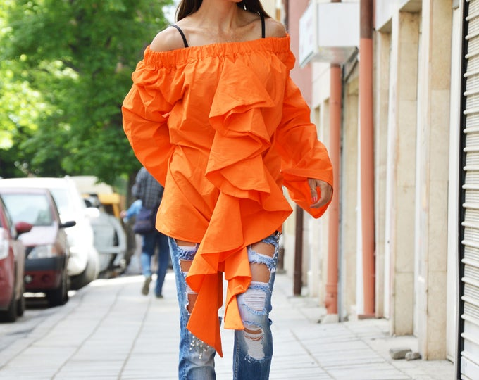 Extravagant Asymmetric Orange Shirt, Loose Cotton Shirt, Design Sleeves, Off Shoulders Shirt by SSDfashion