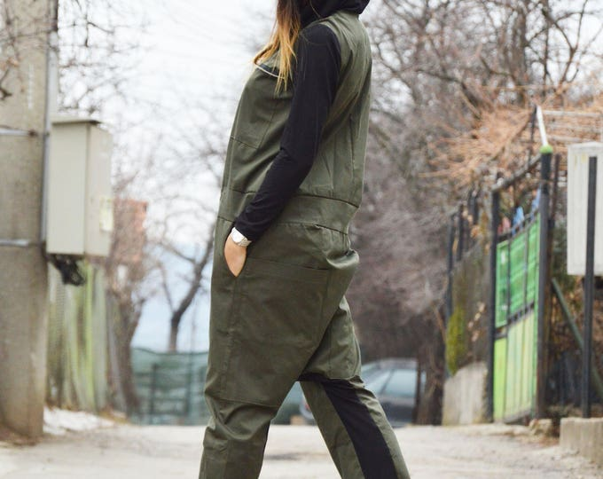 Military Jumpsuit, Overall Cotton Romper, Long Zipper Jumpsuit Side Pockets, Maxi Jumpsuit With Black Hooded by SSDfashion