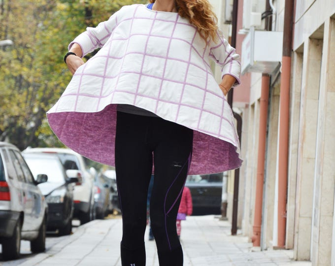 Asymmetric Loose Warm Tunic, Short Sleeve Maxi Tunic , Extravagant Side Pockets Tunic Top by SSDfashion