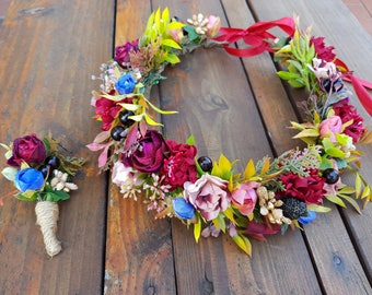 Burgundy pink flower crown Wedding hair wreath Flower headband Bridesmaid crown Bridal headpiece Flower girl crown Boho wedding