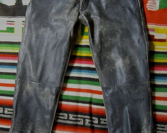 black leather motorcycle pants