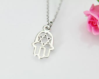 Star of David Necklace, Star of David Charm, Hamsa Necklace, Hamsa Charm, Hamsa Hand Charm, Hand Charm, Best Friend Gift, Coworker Gift