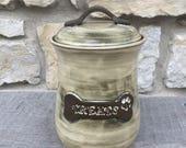 Dog Treat Jar, pottery dog treat canister cream white glaze