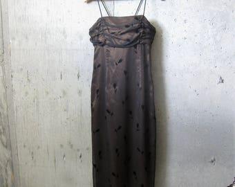 Black Organza Overlay Spaghetti Strap Dress Lace Up Back Slit Floral Silhouette Motif Border Print Evening Morgan & Co.