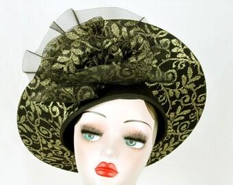 Mr Hi Black Wool Church Hat, Wide Brim with Gold Trim, 1940s