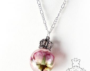 Pink Rose necklace with silver Crown