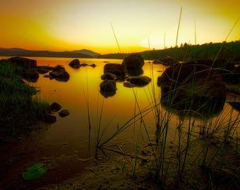 Adirondack Sunset, Newcomb, Lake Harris, Sundown Photo, Sundown Picture, Lake Photo, Adirondack Mountains, Nature Print, Adirondack Decor