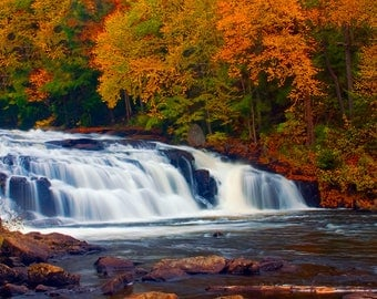 Adirondack Waterfall Photography, Autumn Photo, Buttermilk Falls, Long Lake, Adirondack Mountains, Long Lake Photograph, Raquette River