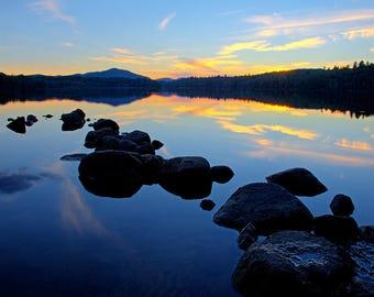 Adirondack Sunset, Nature Photograph, Landscape Photograph, Nature Print, Lake Photo, Home Decor, Adirondack Decor, Sunset Picture, Fine Art