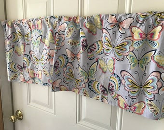 Gray and Pink butterfly Curtain Valance