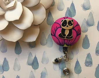 Lotus Panda -Nurse Retractable ID Badge Reel/ RN Badge Holder/Doctor Badge Reel/Nurse Badge Holder/Nursing Student Gifts
