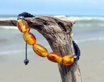 Macrame Bracelet, Baltic Amber Bracelet, Black Cotton Braided Bracelet