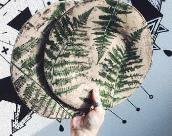 Ceramic Plate Forest Fern, handmade pottery rustic