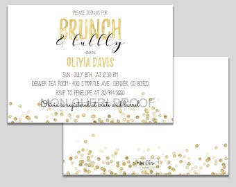 Brunch & Bubbly Gold Glitter Bridal Shower Brunch Invitation  | Bridal Shower Invite | Bridal Brunch Invite Printable  Modern Bridal