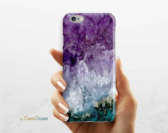 Amethyst Crystal Phone Case, SE iPhone 5 5s phone case iPhone 7 6s 6 Plus phone case Samsung galaxy S8 Plus S7 Edge S6 S4 S3 phone case