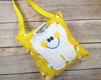 Tooth Fairy Pillow - Tooth Fairy Gift - Tooth Fairy - Tooth Pillow - Tooth Keeper - Tooth Fairy Pillow Boy - Tooth Fairy Pillow Girl - Bees