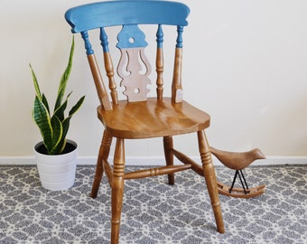 Brown Blue Hand Painted Vintage Carver Statement Dining Wooden Solid Wood Office Chair Farmhouse Boho Modern