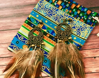 Bohemian earrings/boho earrings/feather earrings/beaded earrings/dangle earrings/hippie earrings/Gypsy earrings/jewelry pouch/tribal earring