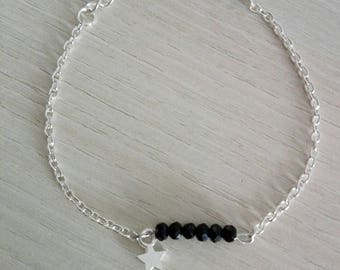 """Silver """"Wai'anae"""" with five black faceted beads chain bracelet"""