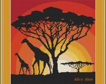 Cross Stitch Pattern Silhouette Tree Giraffe with calf at sunset monochrome texture Counted Cross Stitch Pattern / Instant Download Epattern
