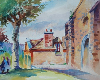 Original watercolor of the church of Gometz le Châtel, France