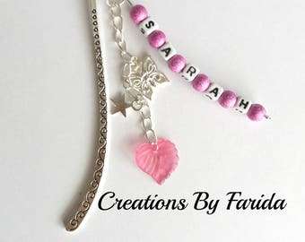First name, personalized message pink and silver bookmark