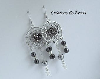 Earrings catch dreams with cabochon effect grey granite and gray, silver beads and a star