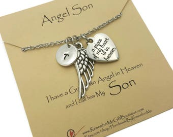 Angel Son Memorial Necklace, Loss Of Son, Sympathy Gift, Memorial Jewelry, Remembrance Jewelry, Memorial Gifts, Sympathy Jewelry
