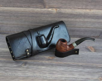 Genuine Leather Pipe Pouch. Tobacco Pouch Case Holder. Pipe Roll. Pipe Bag. Pipe Stand. Pipe holder. Dark Brown. 3D Pipe.