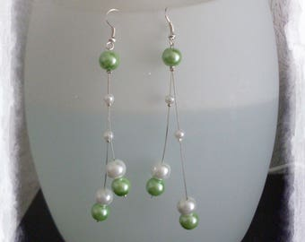 Lime and White Pearl Earrings