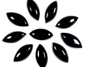 10-P Wholesale Lot Of Natural Black Onyx Marquise shape cabochon