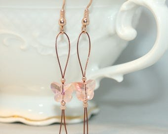 Butterfly Earrings-Rosegold-elements made of 925 silver with Rose gilding, jewellery with glass-cut beads butterflies, Ohrrhänger