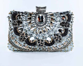 Silver Beaded Statement Clutch