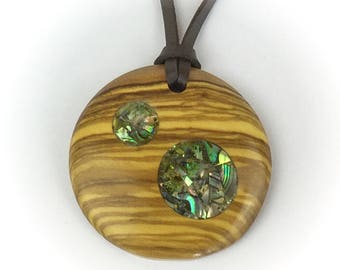 Olive Wood Pendant With Abalone shell Inlay, 5th Wedding Anniversary Gifts, Personalised Wooden Jewellery