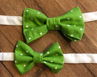 Green, Polka Dot, Adjustable Daddy and Me Bow Ties