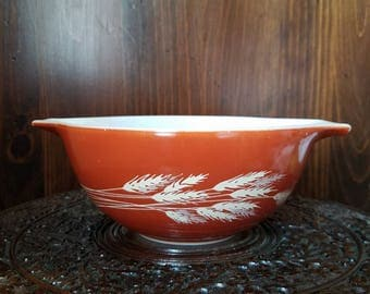 Vintage Pyrex 442 Autumn Harvest Milk Glass Cinderella Mixing Bowl