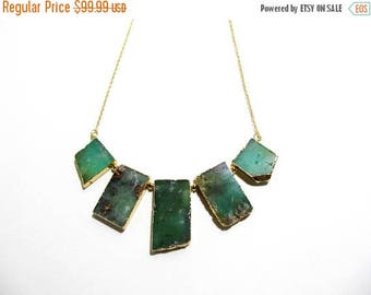 SALE Jade Necklace - Statement Necklace - Australian Jade - Raw Gemstone Beads - Raw Green Stone - Gold Plated Necklace - OOAK Cocktail Neck