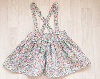 READY to SHIP!! FLORA Handmade Girls Liberty Print Suspender Skirt Betsy 4 years