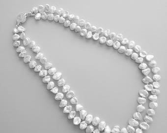 Keshi pearl 2 stranded necklace