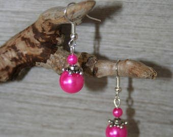 Fuchsia glass beads earrings
