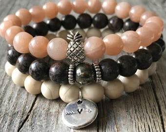 Woman gemstone bracelet set, gemstone pineapple bohemian bracelet, stretch stacking beaded bracelet, woman gemstone jewelery, woman gift